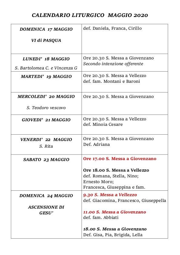 Calendario Liturgico Maggio 2020
