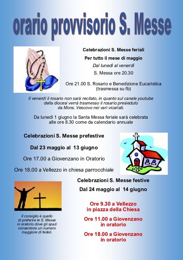 Orario provvisorio Sante Messe