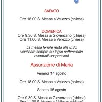 Orari S. Messe Agosto 2020