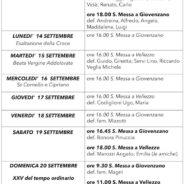 Calendario dal 13 al 20 settembre 2020
