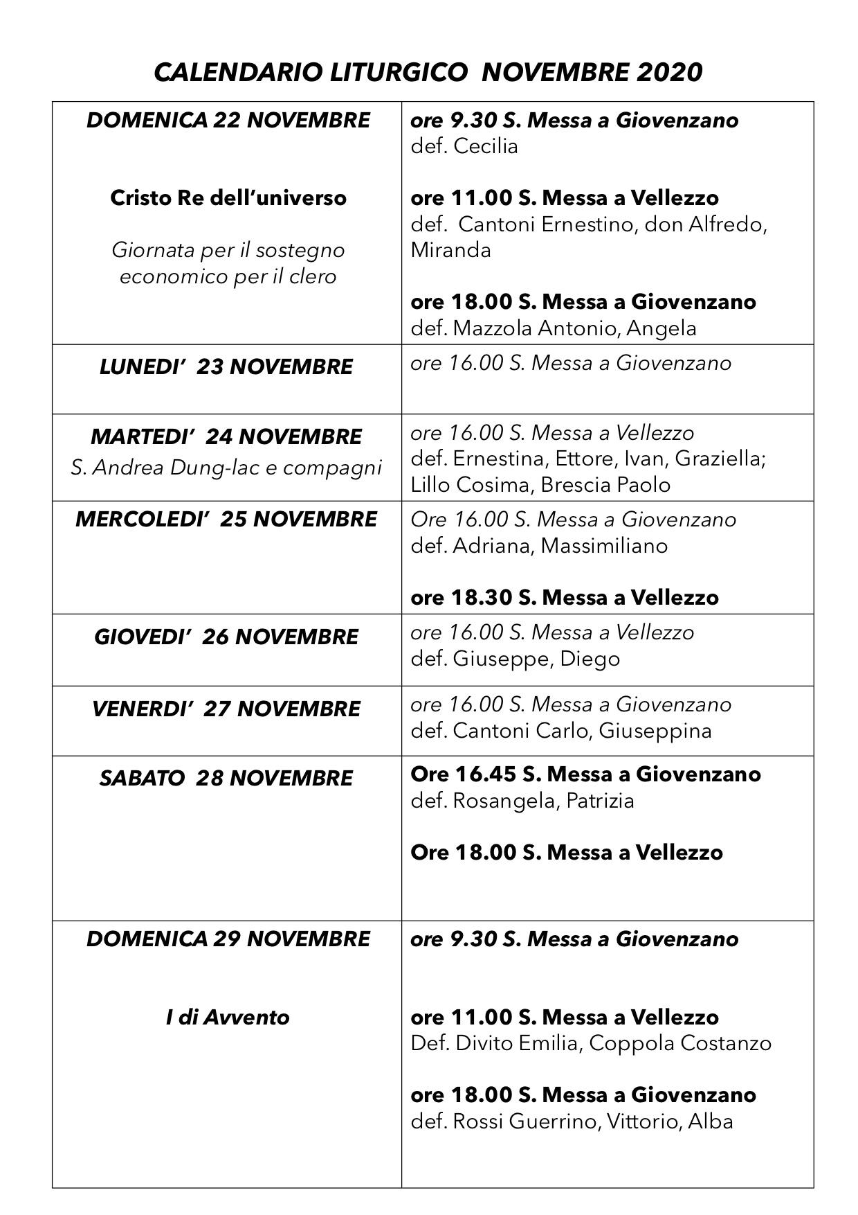 Calendario Liturgico dal 22 al 29 novembre 2020