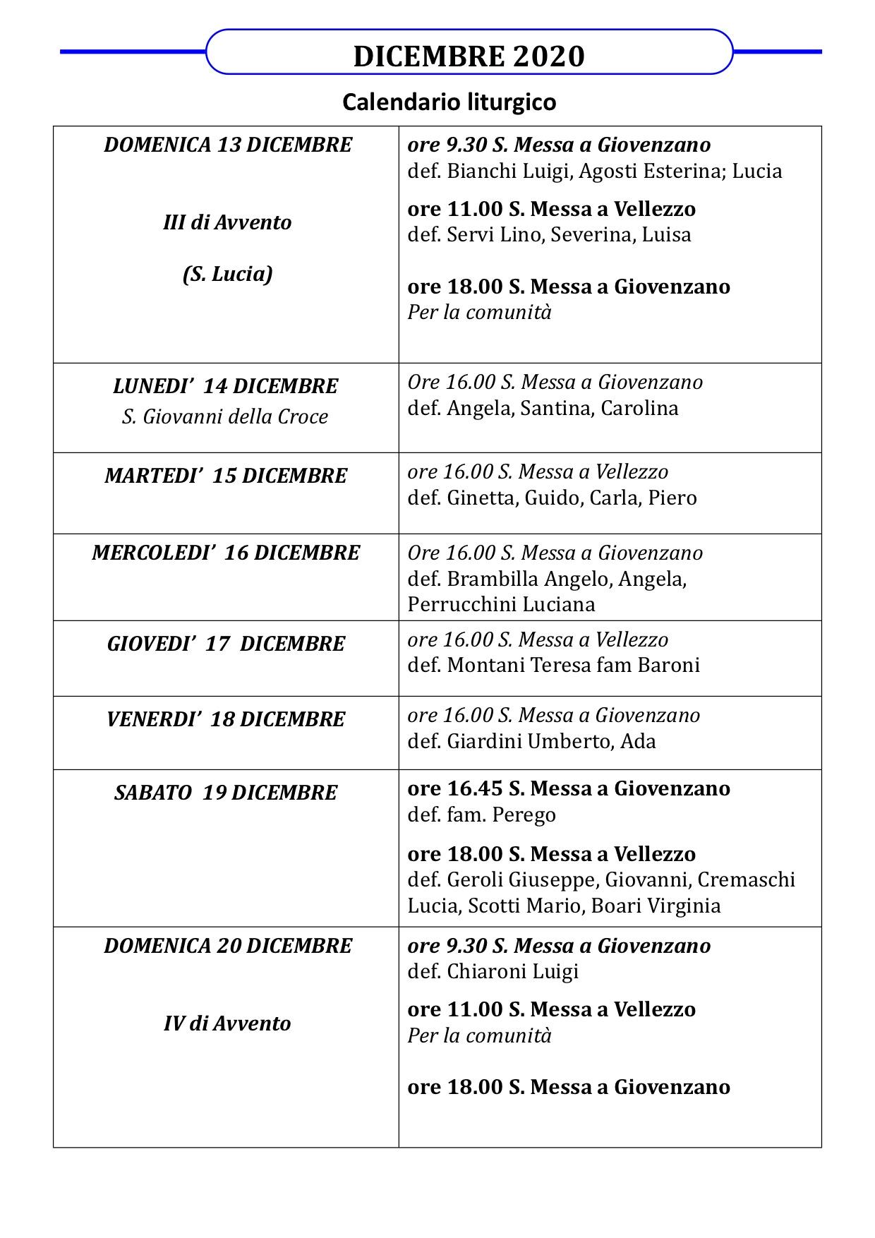 Calendario Liturgico dal 13 al 20 dicembre
