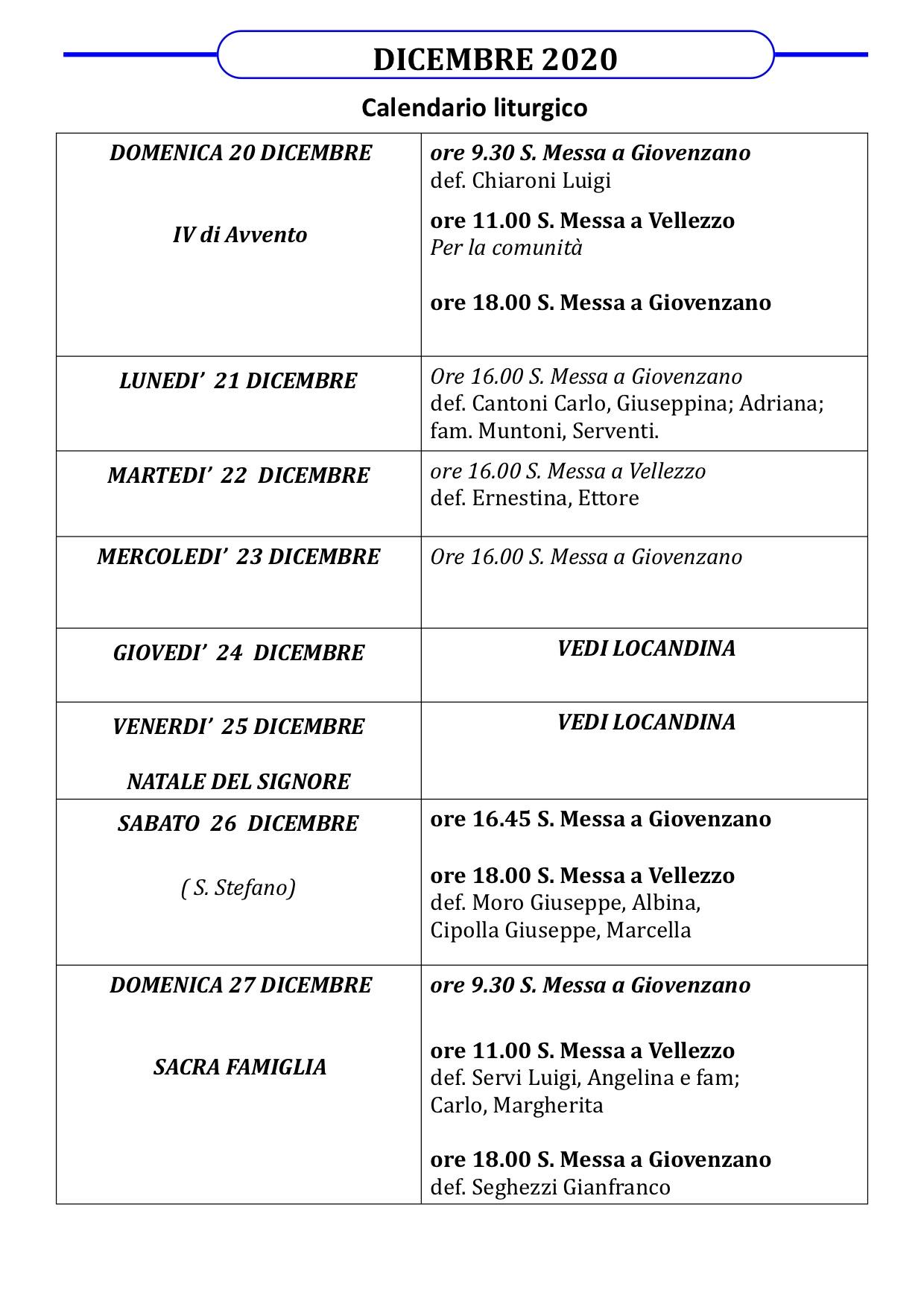 Calendario Liturgico dal 20 al 27 dicembre
