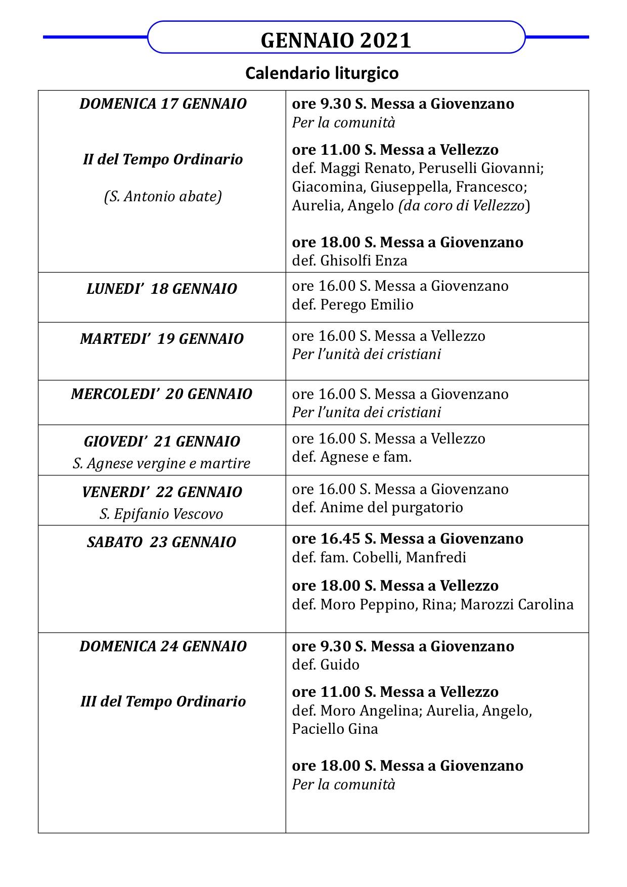 Calendario Liturgico dal 17 al 24 gennaio 2021
