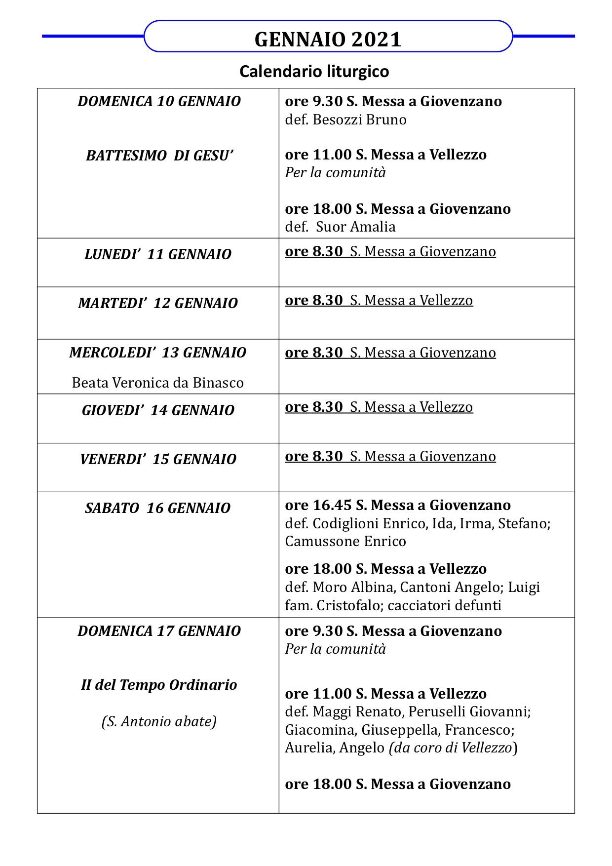 Calendario liturgico dal 10 al 17 gennaio 2021