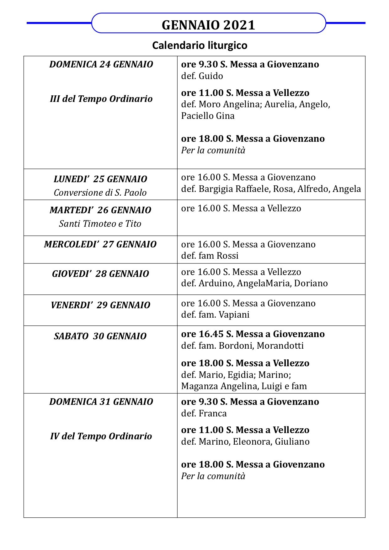 Calendario liturgico dal 24 al 31 gennaio 2021