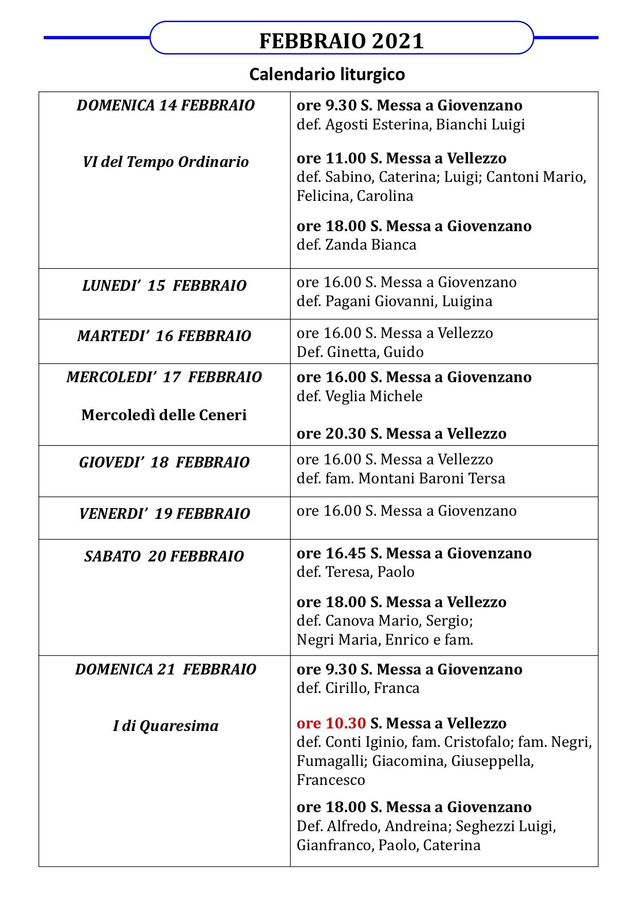 Calendario Liturgico dal 14 al 21 febbraio