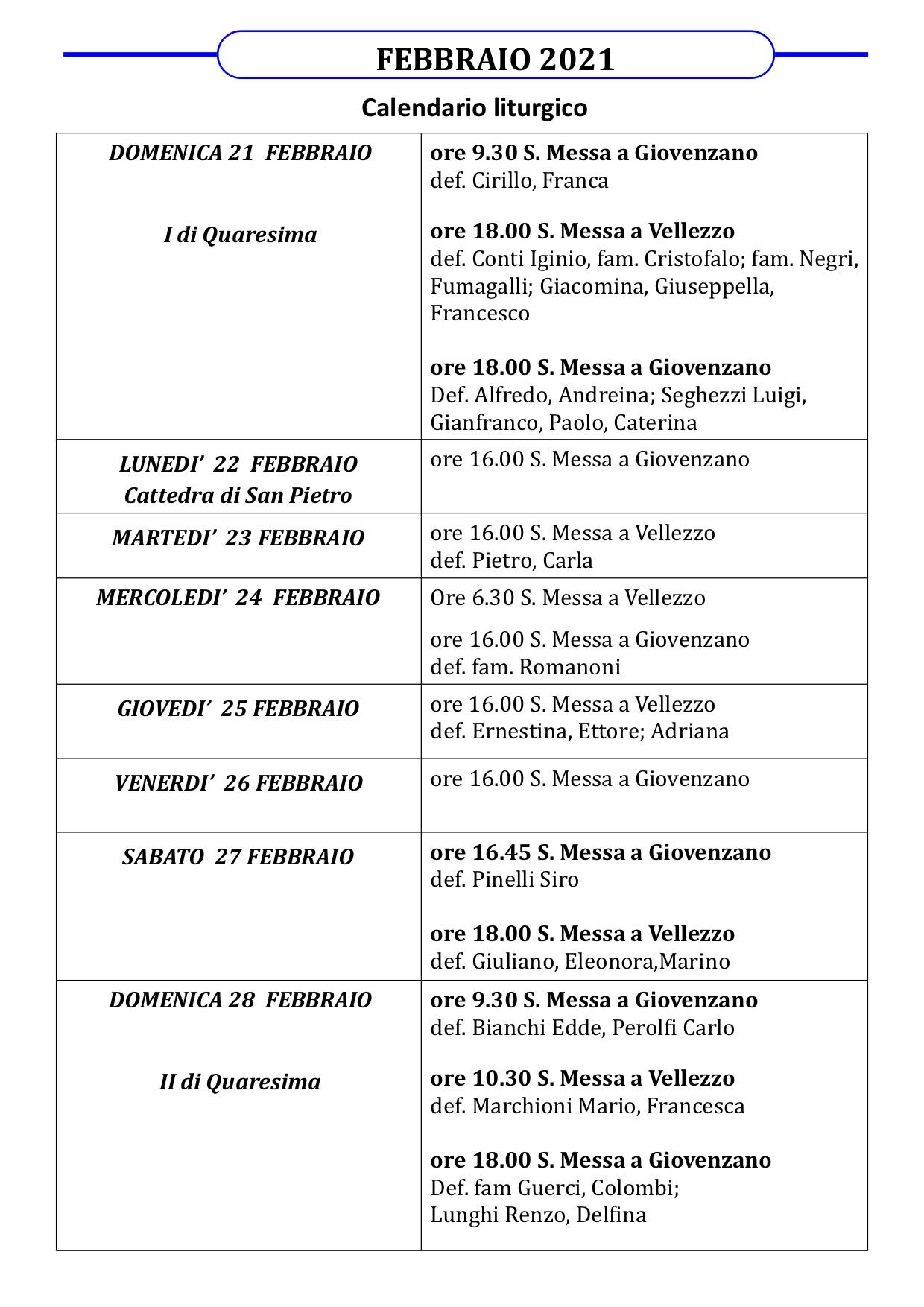 Calendario Liturgico dal 21 al 28 febbraio 2021