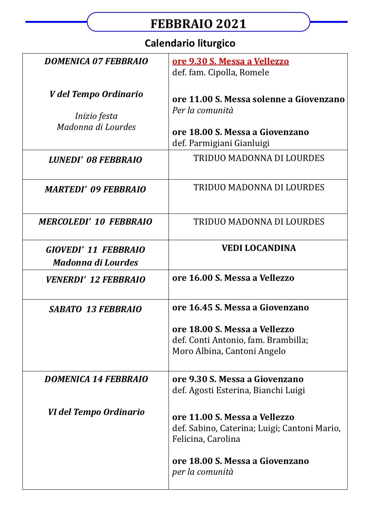 Calendario liturgico dal 07 febbraio al 14 febbraio 2021