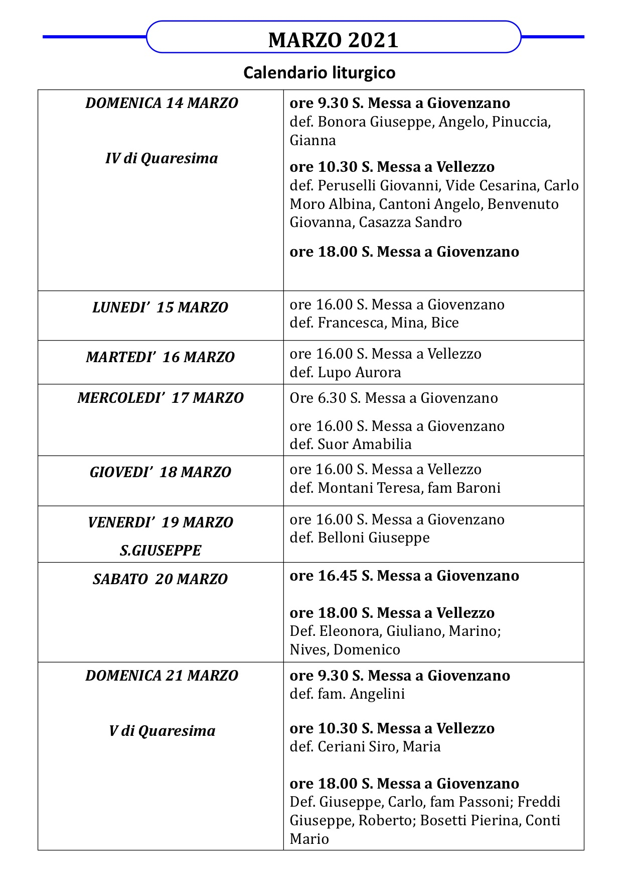 Calendario liturgico dal 14 marzo al 21 marzo 2021