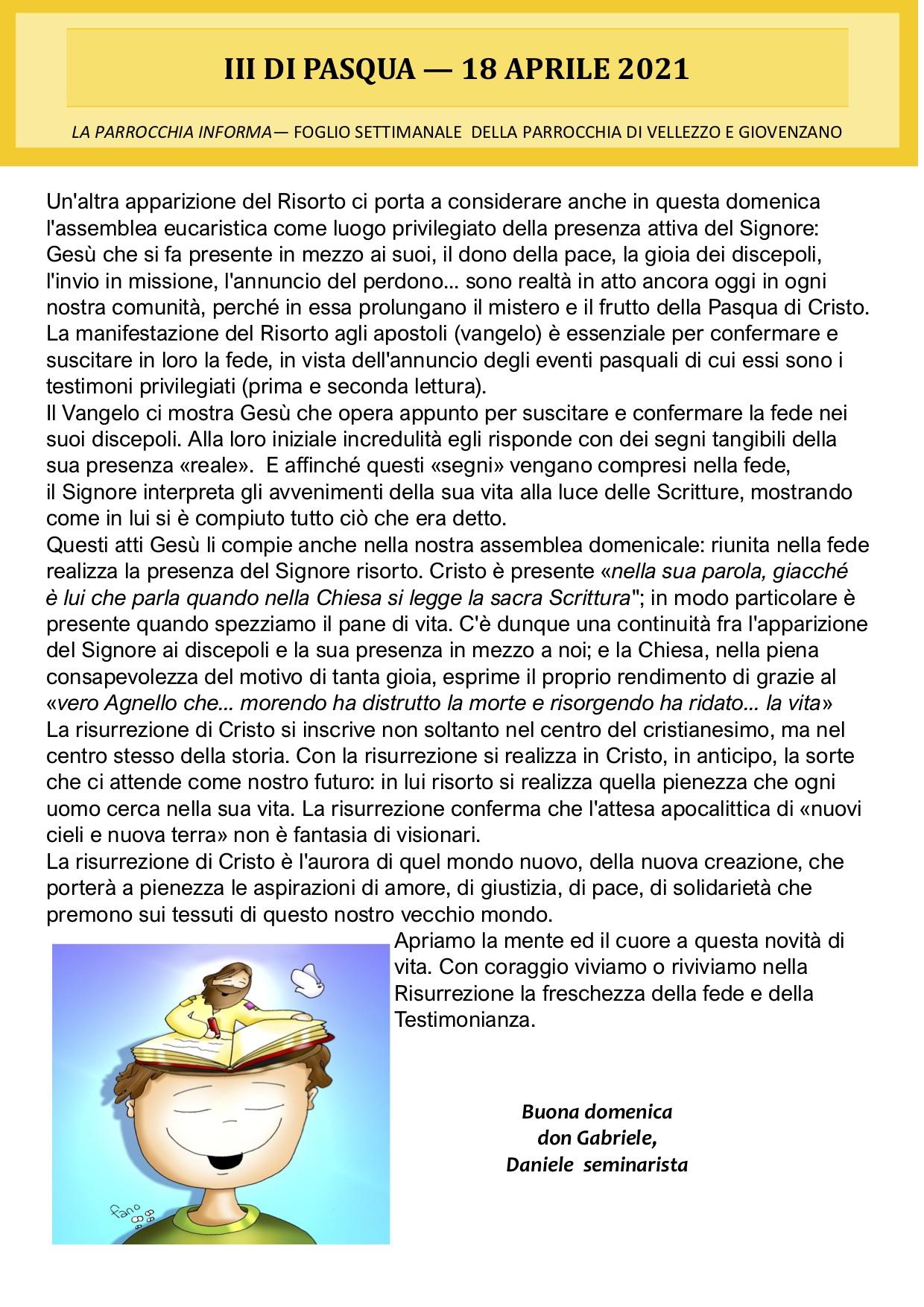 III di Pasqua, 18 Aprile 2021, Foglio Settimanale della Parrocchia di Vellezzo e Giovenzano, La Parrocchia Informa