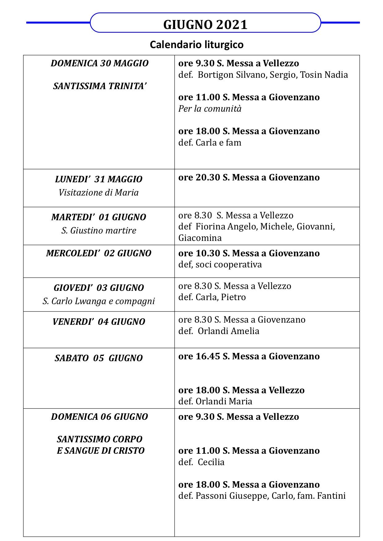 Calendario Liturgico dal 30 maggio al 6 giugno 2021