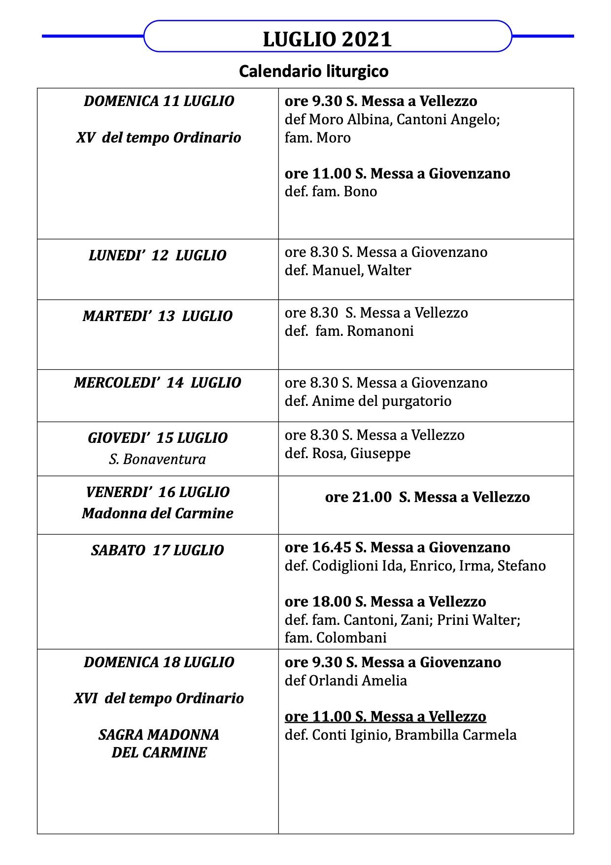 Calendario Liturgico dal 11 al 18 luglio 2021